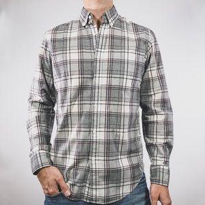 J. Crew Grey White Plaid Slim Secret Wash Shirt S